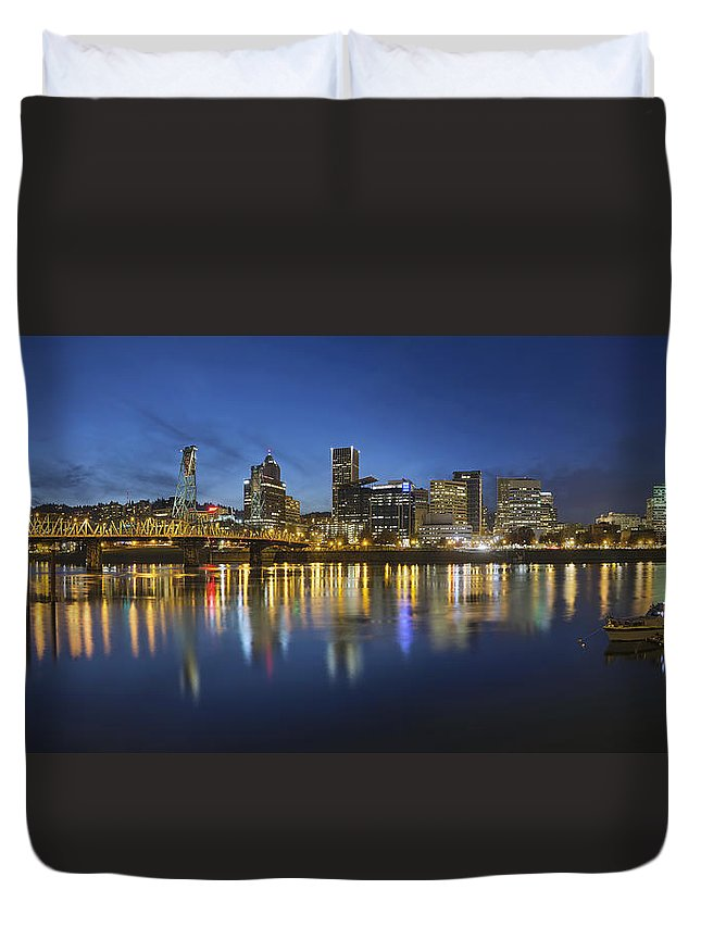 Portland Duvet Cover featuring the photograph Portland Downtown With Hawthorne Bridge At Blue Hour by Jit Lim