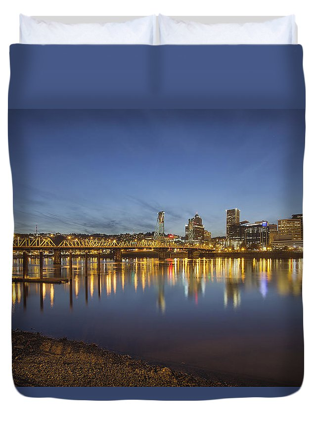 Portland Duvet Cover featuring the photograph Portland Downtown With Hawthorne Bridge At Dusk by Jit Lim