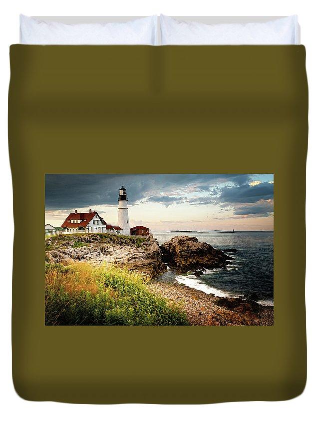 Safety Duvet Cover featuring the photograph Portland Head Light - Cape Elizabeth by Doug Van Kampen, Van Kampen Photography