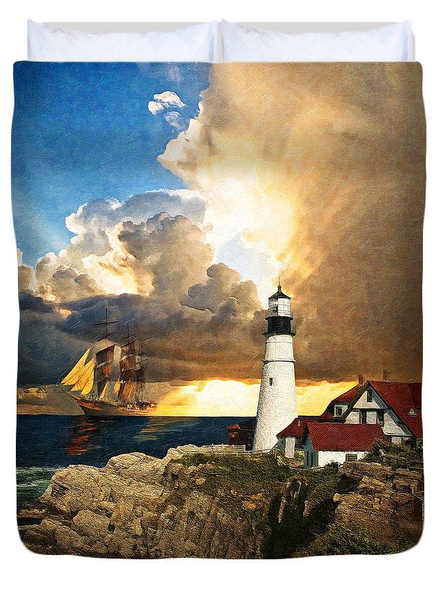 Lighthouse Duvet Cover featuring the digital art Portland Head Lighthouse by Lianne Schneider