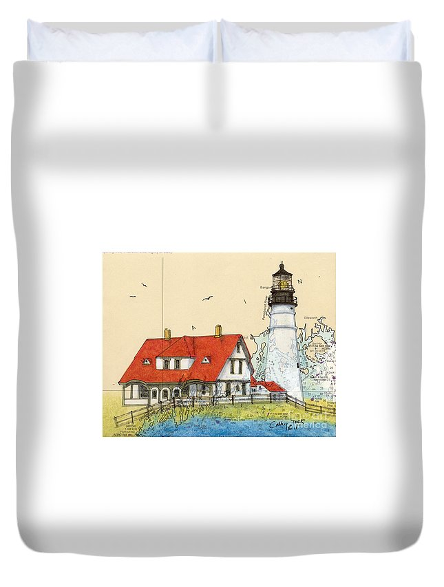Portland Duvet Cover featuring the painting Portland Head Lighthouse Me Nautical Chart Map Art by Cathy Peek