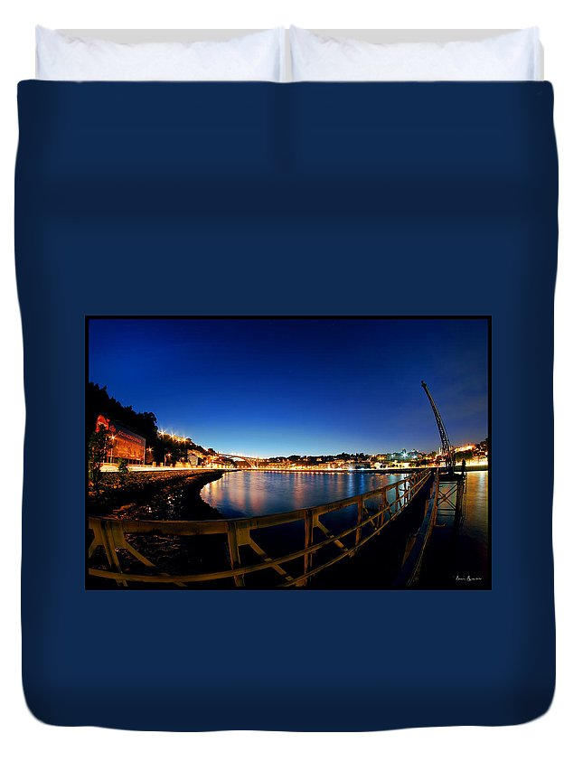Landscape Duvet Cover featuring the photograph Porto By Night. by Bruno Rosa