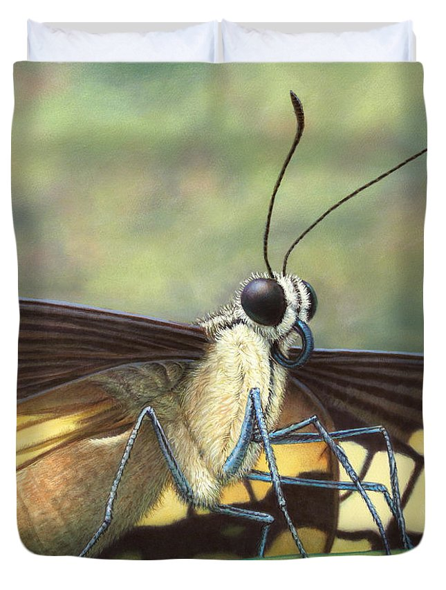 Butterfly Duvet Cover featuring the painting Portrait Of A Butterfly by James W Johnson