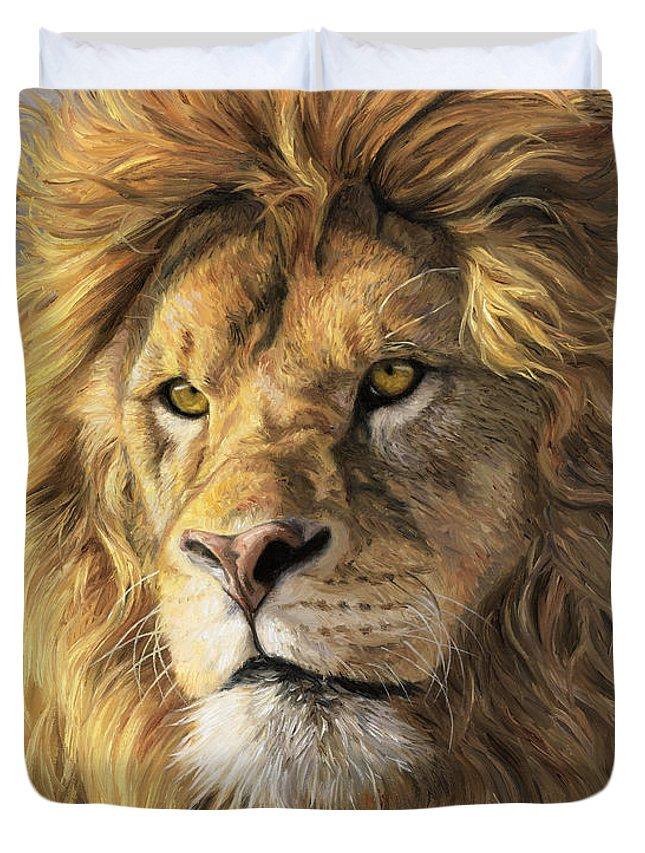 Lion Duvet Cover featuring the painting Portrait Of A Lion by Lucie Bilodeau