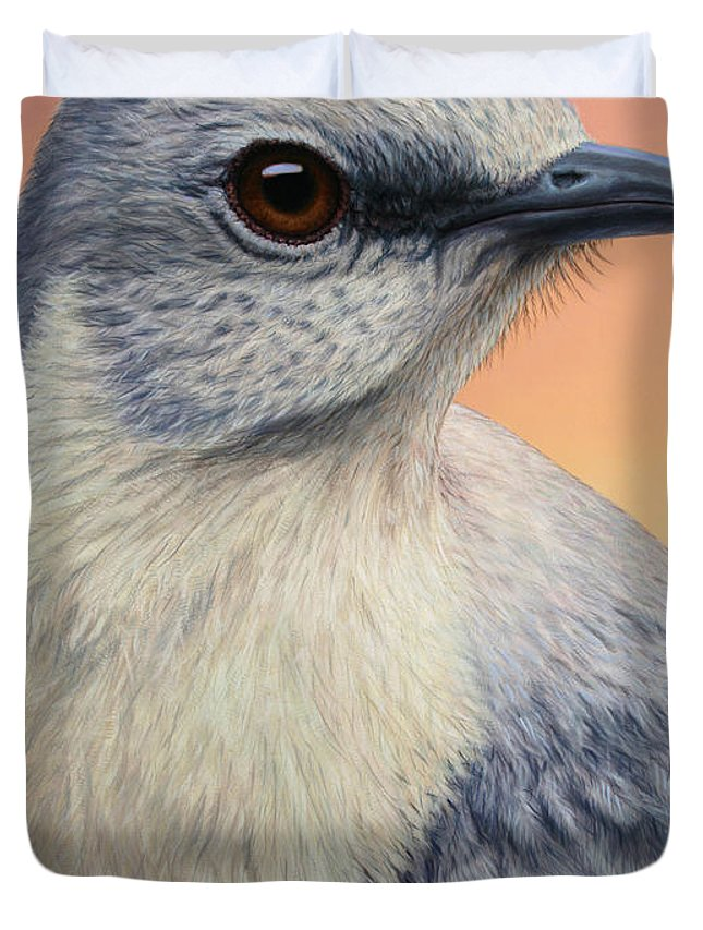 Mockingbird Duvet Cover featuring the painting Portrait Of A Mockingbird by James W Johnson