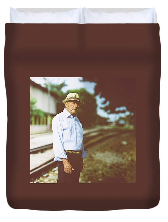Three Quarter Length Duvet Cover featuring the photograph Portrait Of A Senior Man by Thanasis Zovoilis
