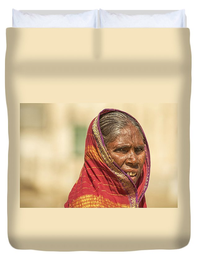 Women Duvet Cover featuring the photograph Portrait Of A Woman In Hampi by Valerie Rosen