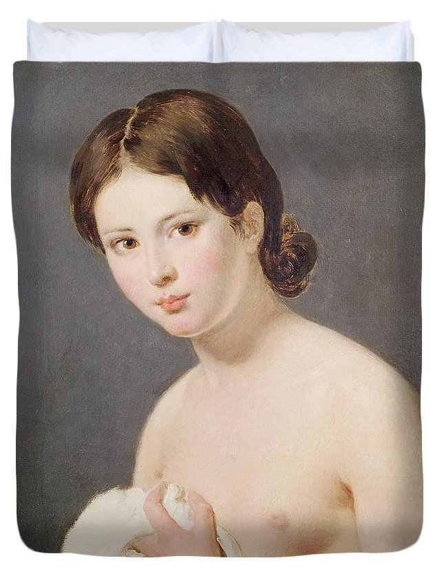 Nude Duvet Cover featuring the painting Portrait Of A Young Girl by Jacques Louis David