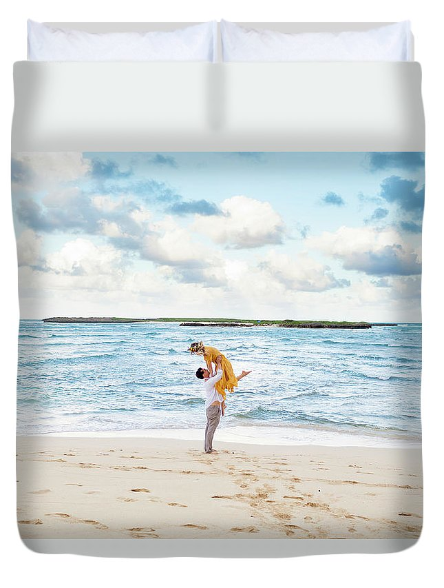 Men Duvet Cover featuring the photograph Portrait Of Couple On Beach By Ocean by Joshua Rainey