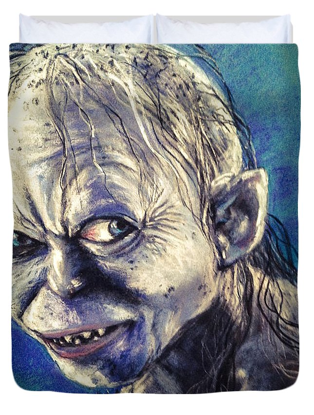 Gollum Duvet Cover featuring the pastel Portrait Of Gollum by Alban Dizdari