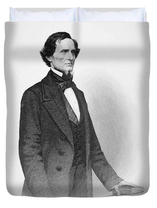 Male Duvet Cover featuring the drawing Portrait Of Jefferson Davis by Mathew Bardy