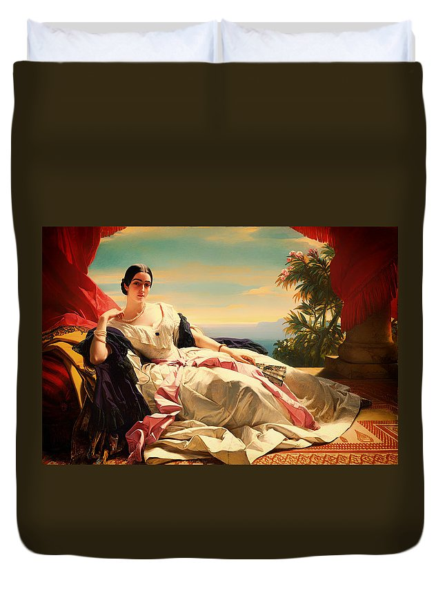 Painting Duvet Cover featuring the painting Portrait Of Leonilla by Mountain Dreams