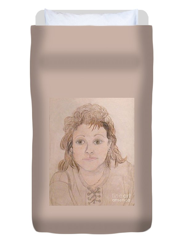 Portrait Of Woman Duvet Cover featuring the drawing Portrait Of Michie by Catherine Ratliff