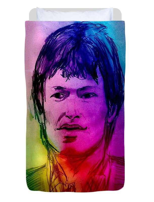 Stevie Winwood Duvet Cover featuring the drawing Rainbow Portrait Of Stevie Winwood by Joan-Violet Stretch