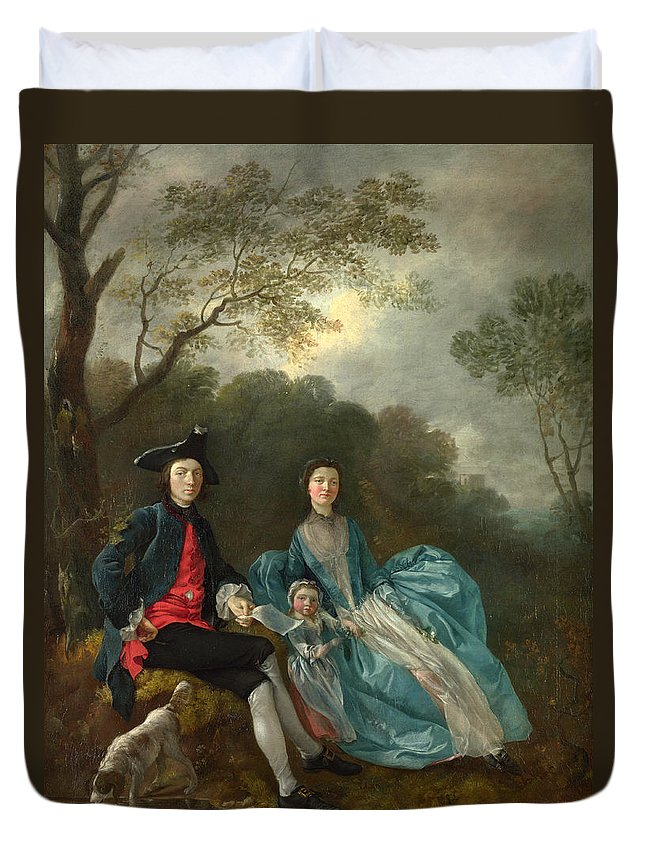 Thomas Gainsborough Duvet Cover featuring the painting Portrait Of The Artist With His Wife And Daughter by Thomas Gainsborough