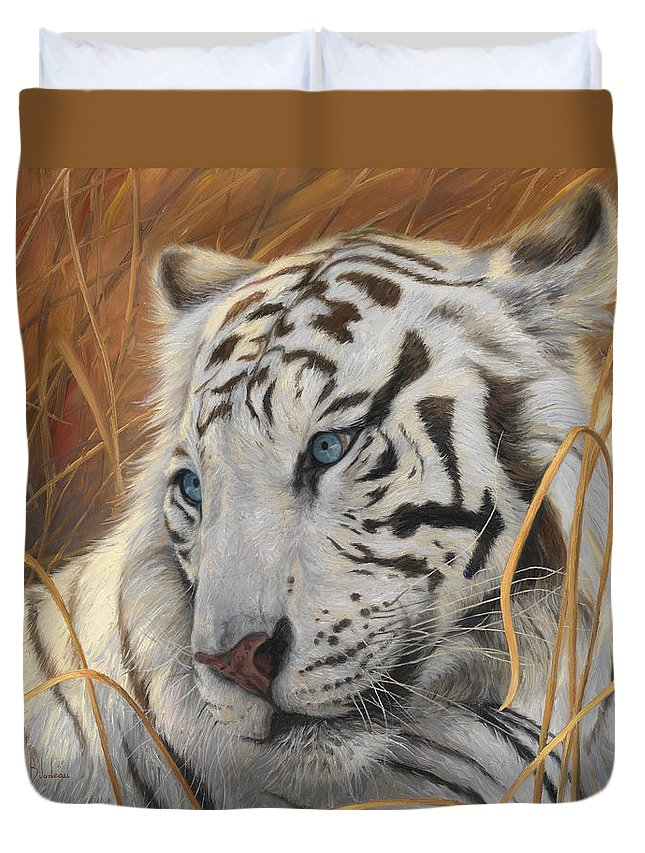Tiger Duvet Cover featuring the painting Portrait White Tiger 1 by Lucie Bilodeau