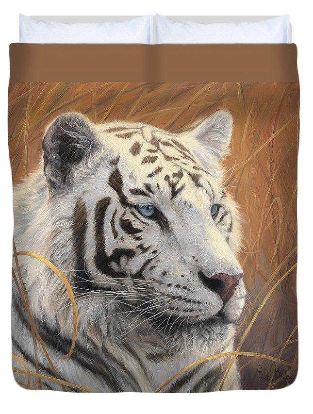 Tiger Duvet Cover featuring the painting Portrait White Tiger 2 by Lucie Bilodeau