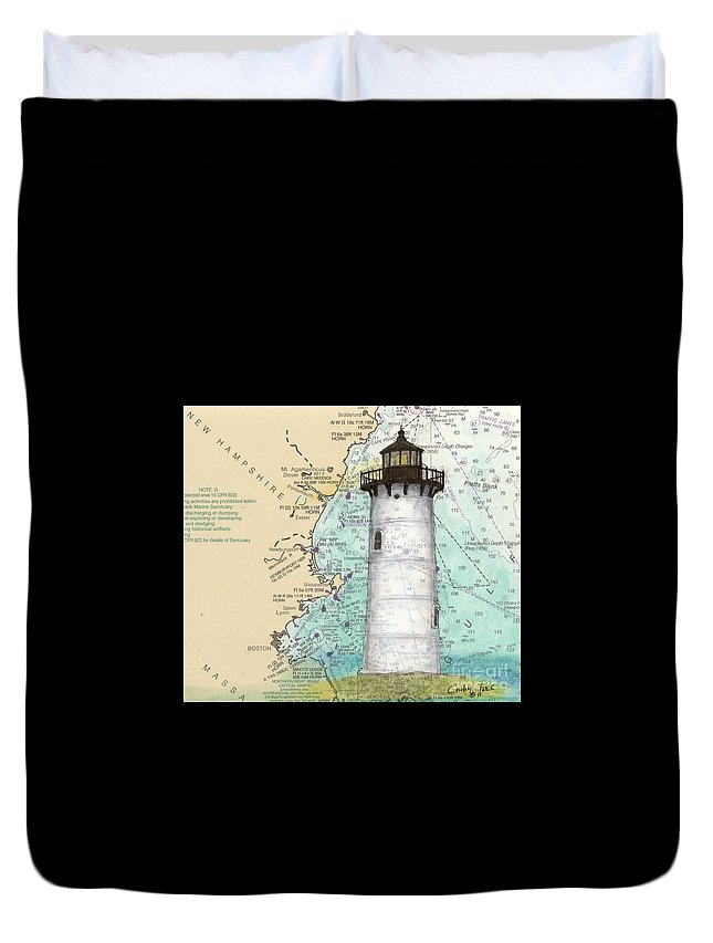 Portsmouth Duvet Cover featuring the painting Portsmouth Harbor Lighthouse Nh Nautical Chart Map Art by Cathy Peek