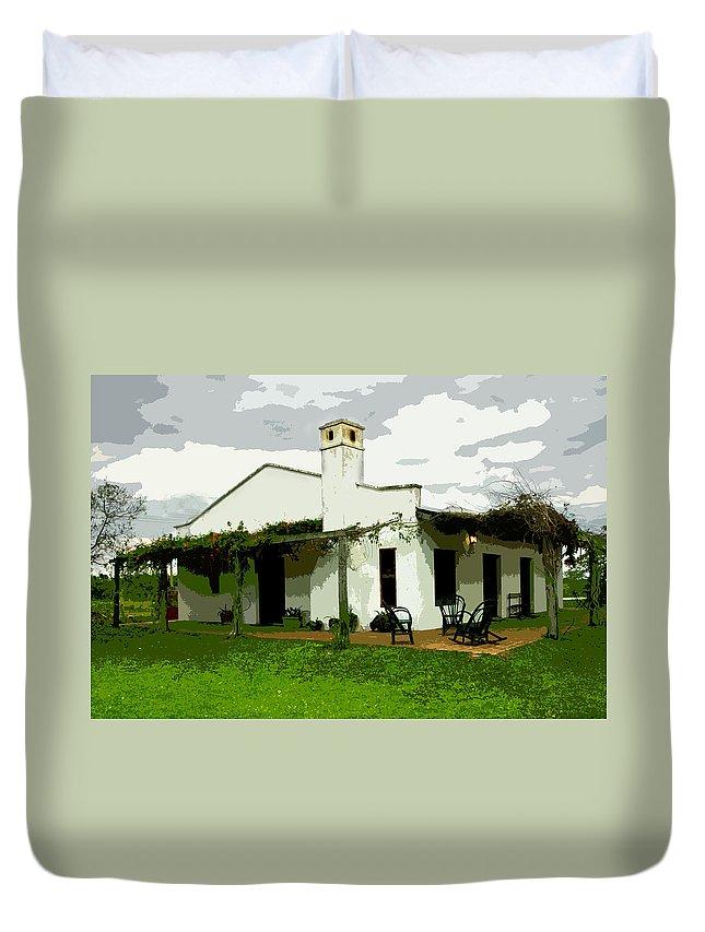 Architecture Duvet Cover featuring the digital art Posada De Laguna Lodge by Norman Johnson