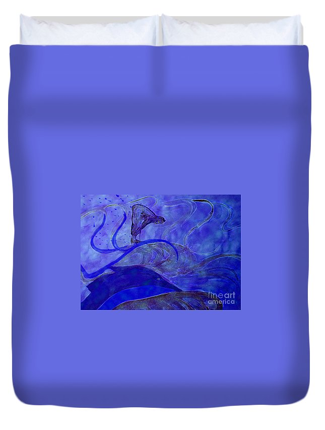 Duvet Cover featuring the painting Poseidon Surf By Jrr by First Star Art