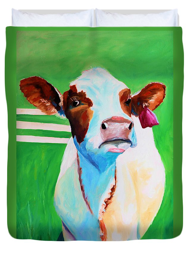 Cow Duvet Cover featuring the painting Posing Cow by Todd Bandy