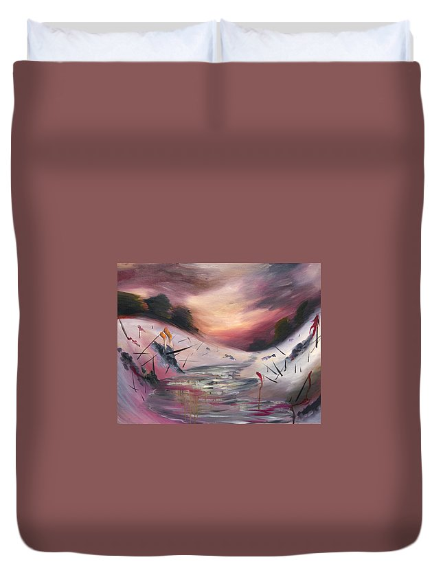 Landscape Duvet Cover featuring the painting Post Shell Shock by Nina Efk