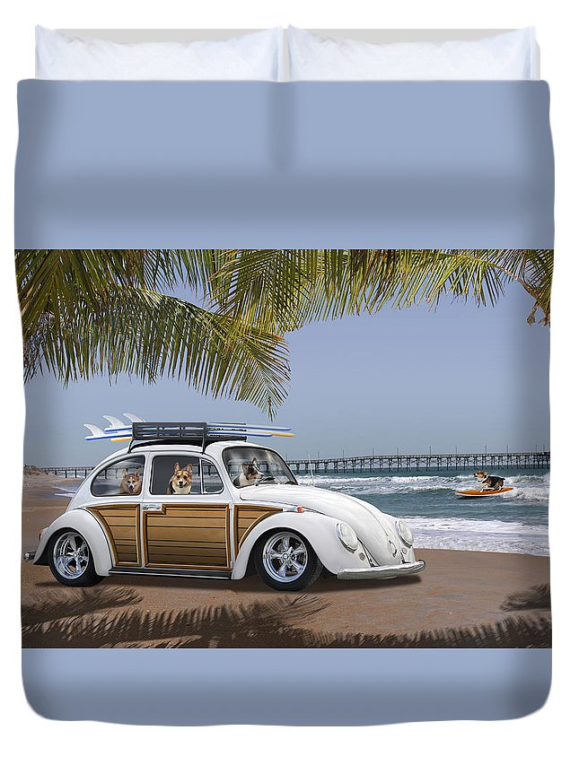 Dogs Duvet Cover featuring the photograph Postcards From Otis - Beach Corgis by Mike McGlothlen