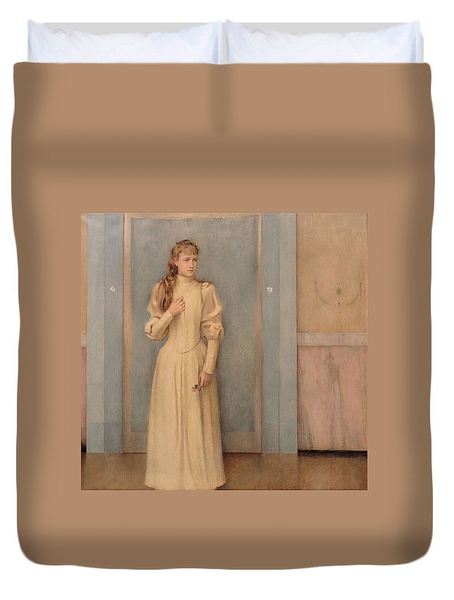 Fernand Duvet Cover featuring the painting Posthumous Portrait Of Marguerite Landuyt by Fernand Khnopff