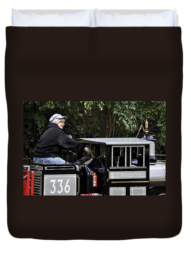 Horizontal Duvet Cover featuring the photograph Potawatomi Zoo Miniature Train Engine South Bend Indiana Usa by Sally Rockefeller