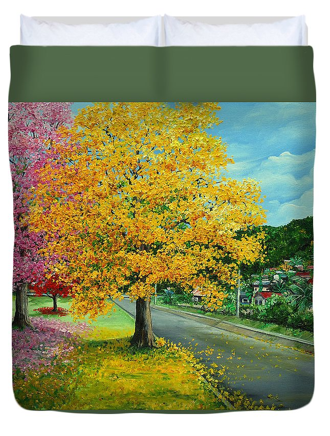 Poui Trees Duvet Cover featuring the painting Poui In Diego by Karin Dawn Kelshall- Best