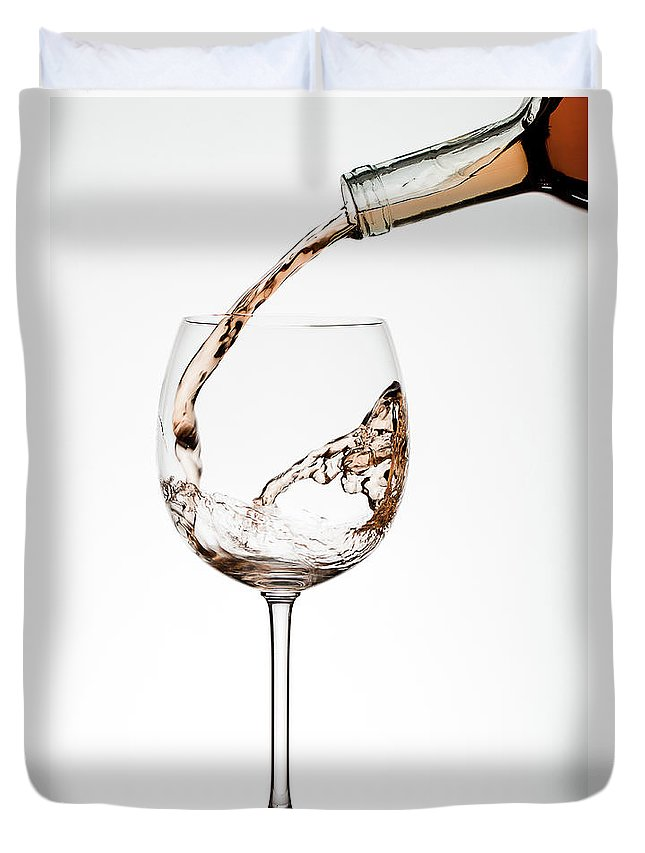 White Background Duvet Cover featuring the photograph Pouring Wine by Timothy L. Tichy