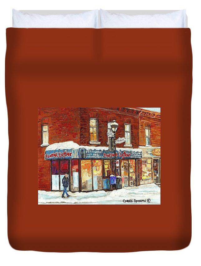 Poutine Lafleur Duvet Cover featuring the painting Poutine Lafleur Rue Wellington Verdun Art Montreal Paintings Cold Winter Walk City Shops Cspandau  by Carole Spandau