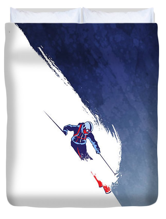 Ski Duvet Cover featuring the painting Powder to the People by Sassan Filsoof