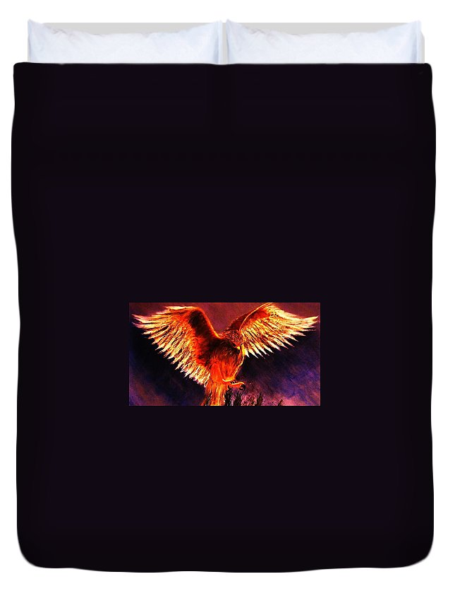 Falcon Duvet Cover featuring the painting Power.. by Cristina Mihailescu