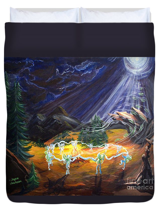 Fairies Duvet Cover featuring the painting Power Dance by Joyce Jackson