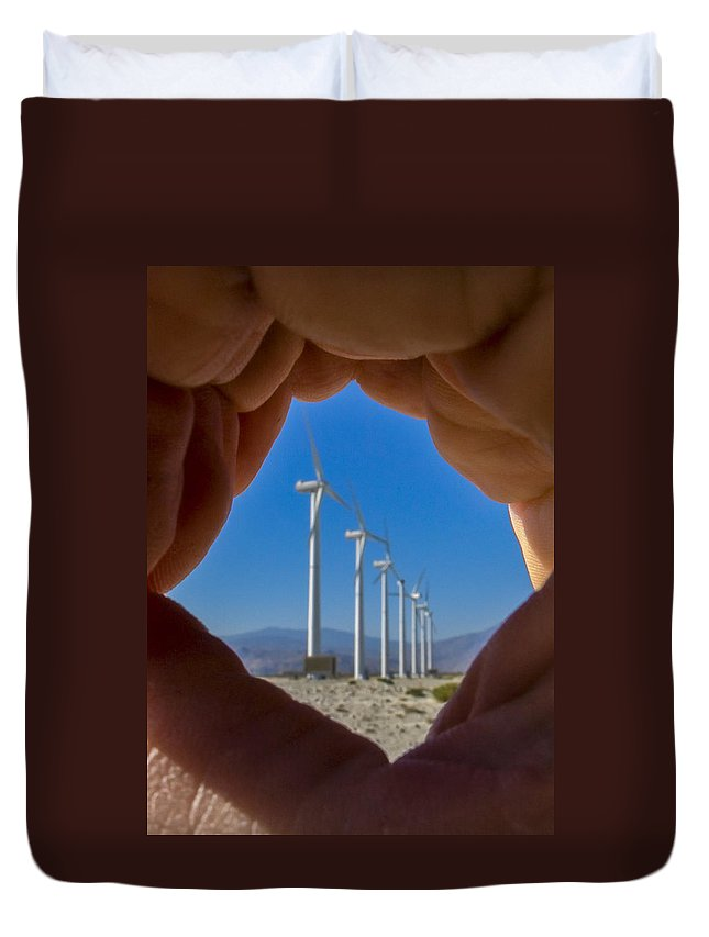 Wind Turbine Duvet Cover featuring the photograph Power In The Hand by Scott Campbell