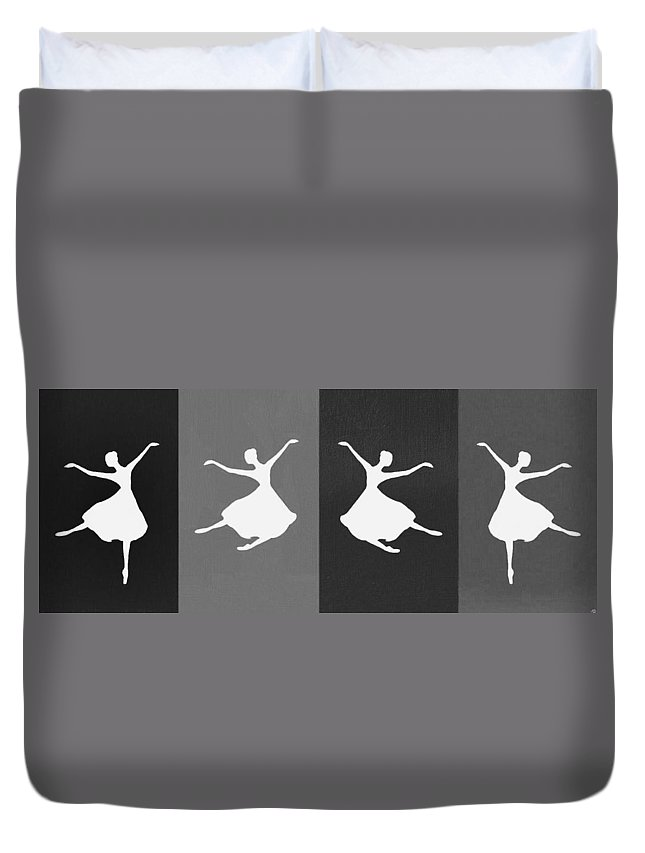 Dancers Duvet Cover featuring the mixed media Practice by Alice Butera