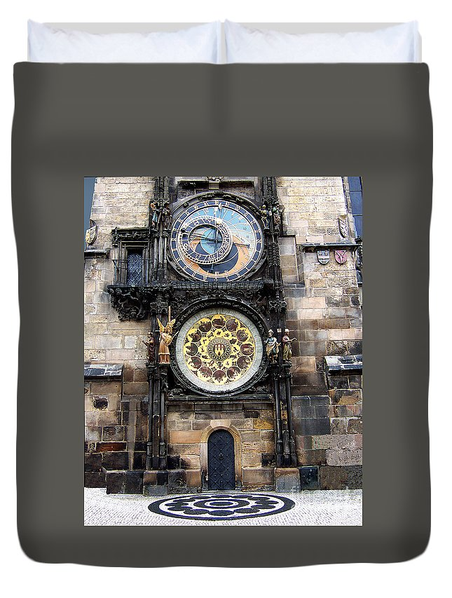 Astrology Duvet Cover featuring the photograph Prague Astronomical Clock by Tom Conway