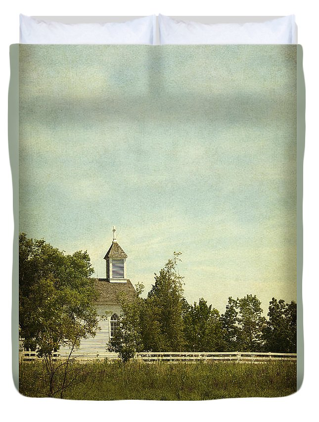 Building; Church; Wooden; Windows; Steeple; Cross; Exterior; Religious; Sanctuary; Old; Chapel; Facade; Wood; Religion; Weeds; Side; Fence; Distance; Trees; Summer; Leaves; Green; Field; Grasses Duvet Cover featuring the photograph Prairie Church by Margie Hurwich