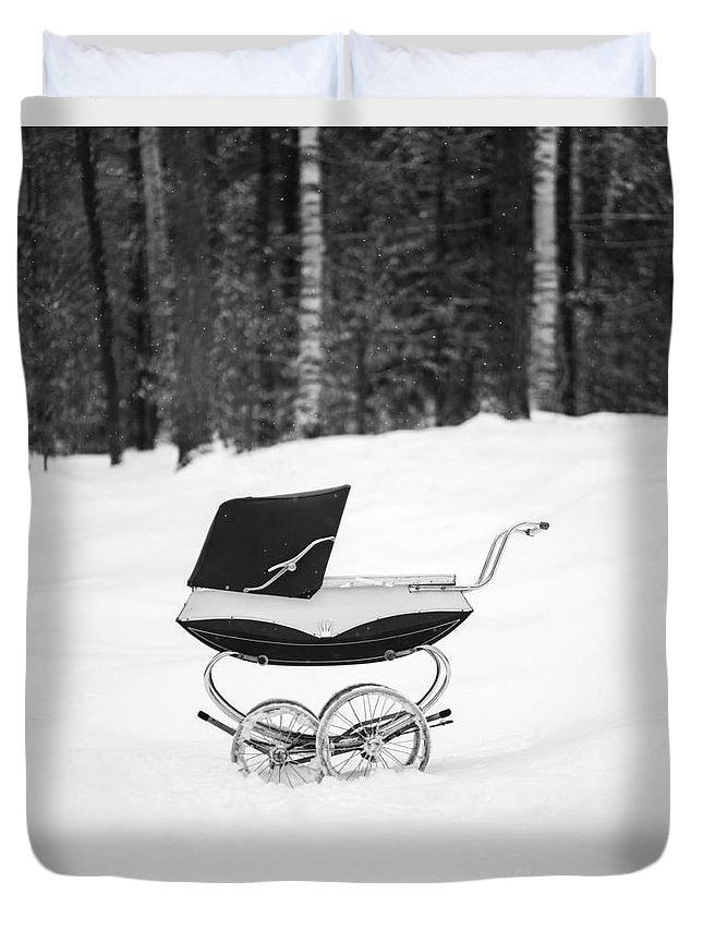 Etna Duvet Cover featuring the photograph Pram In The Snow by Edward Fielding
