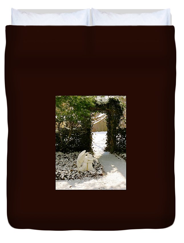 Praying Angel Duvet Cover featuring the photograph Prayer Garden by Nancy Patterson