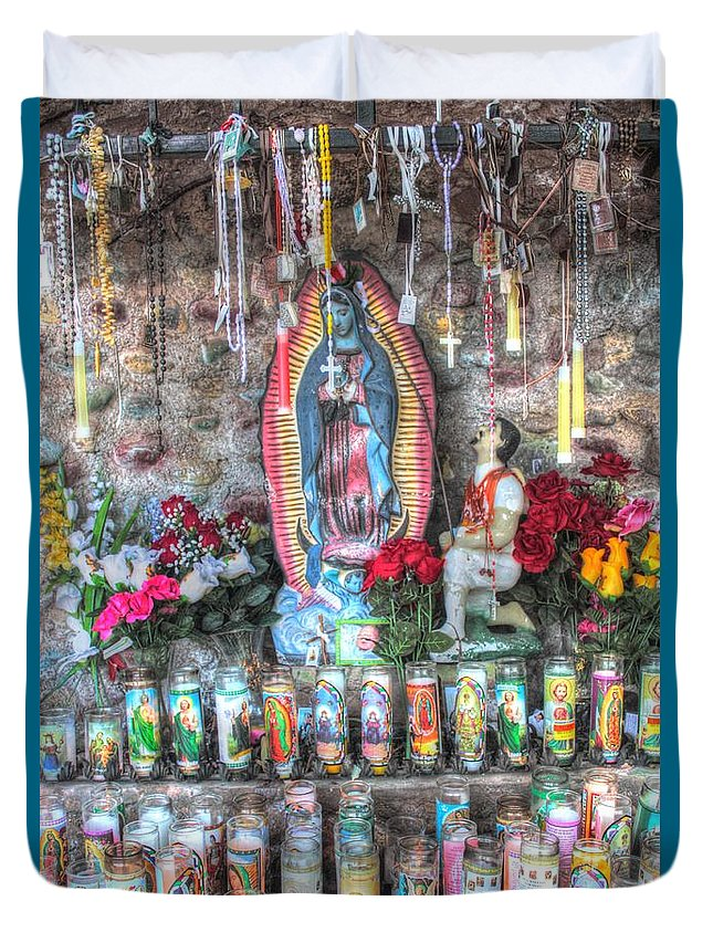 Candles Duvet Cover featuring the photograph Prayers To Our Lady Of Guadalupe by Lanita Williams