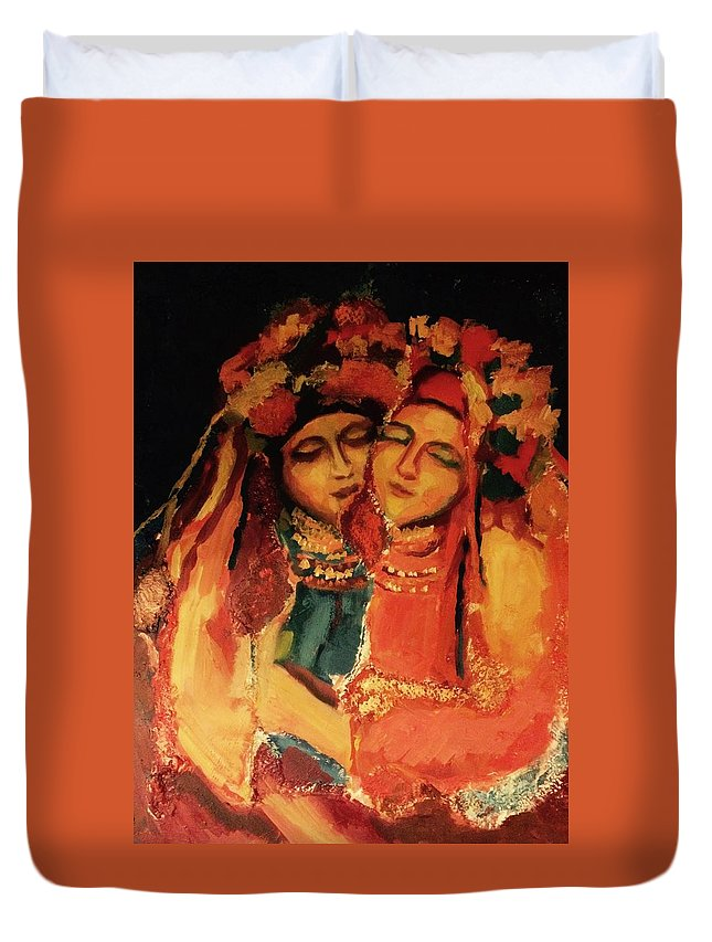 Girl Duvet Cover featuring the painting Praying For Ukraine by Nelya Pinchuk