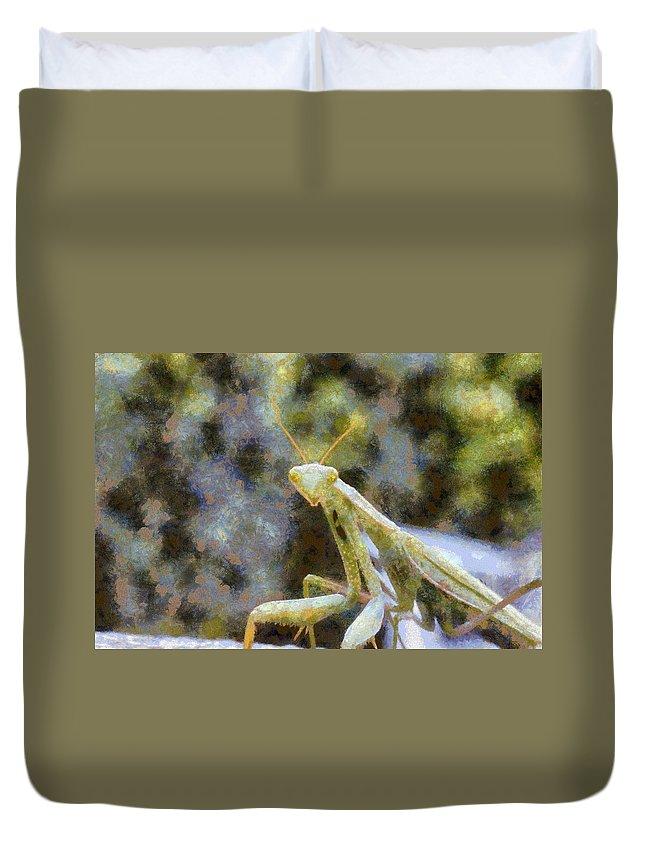 Carnivore Duvet Cover featuring the digital art Praying Mantis by Roy Pedersen
