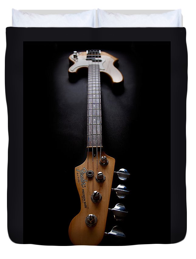 Bass Guitar Duvet Cover featuring the photograph Precision Perspective by Peter Tellone