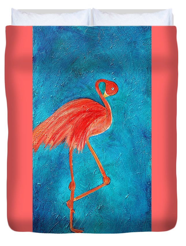 Flamingo Duvet Cover featuring the painting Preening by Maura Satchell