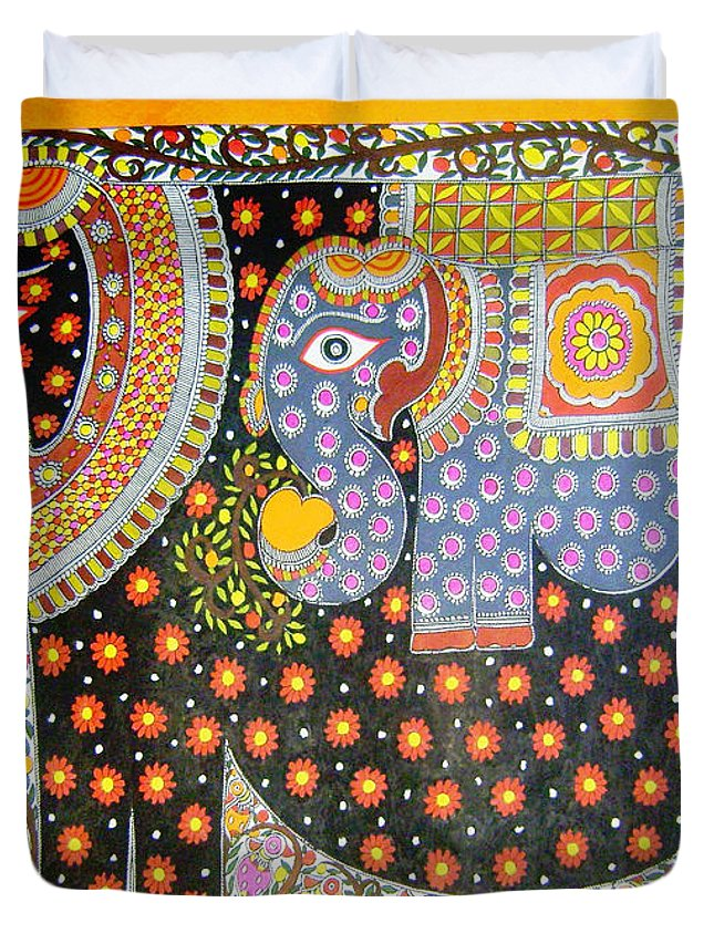Mithila Duvet Cover featuring the painting Pregnant Elephant by Neeraj kr Jha