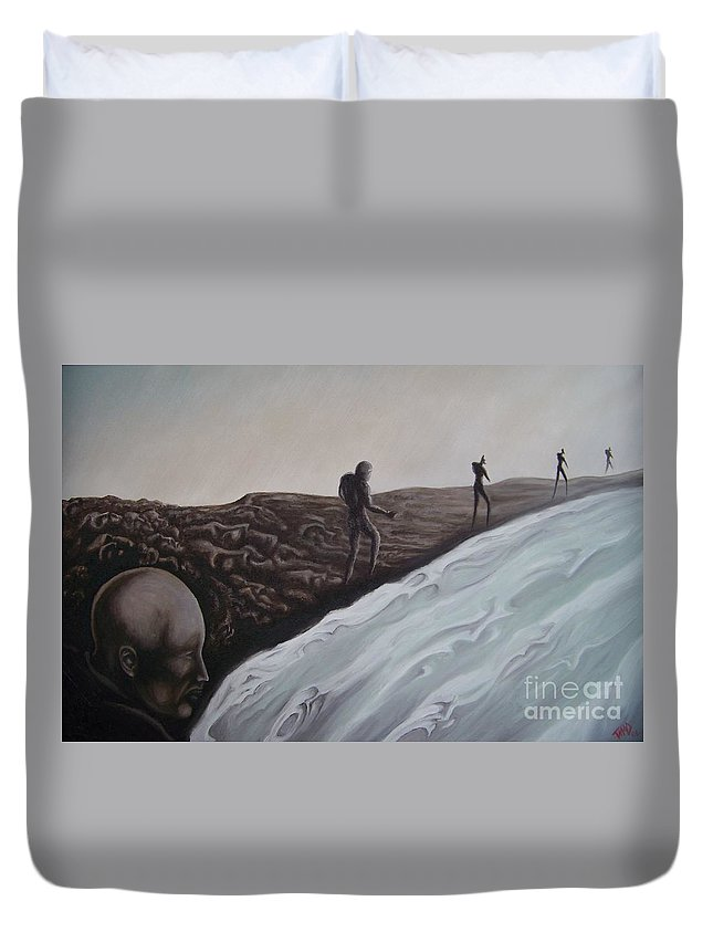Tmad Duvet Cover featuring the painting Premonition by Michael TMAD Finney