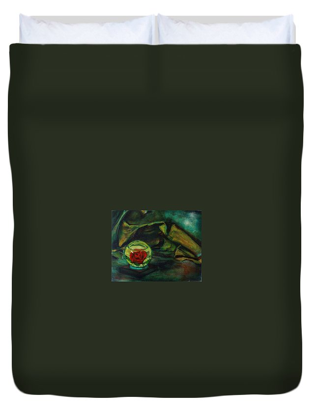 Still Life Duvet Cover featuring the painting Preserved Rose . . Draped Canvas by Sean Connolly