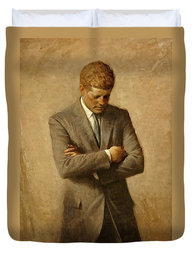 Kennedy Duvet Cover featuring the painting President John F. Kennedy Official Portrait By Aaron Shikler by Movie Poster Prints